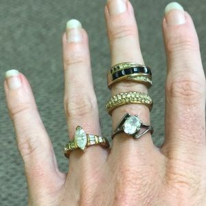 Jewelry - Size 6 lot of 4 Vintage costume diamond gold rings